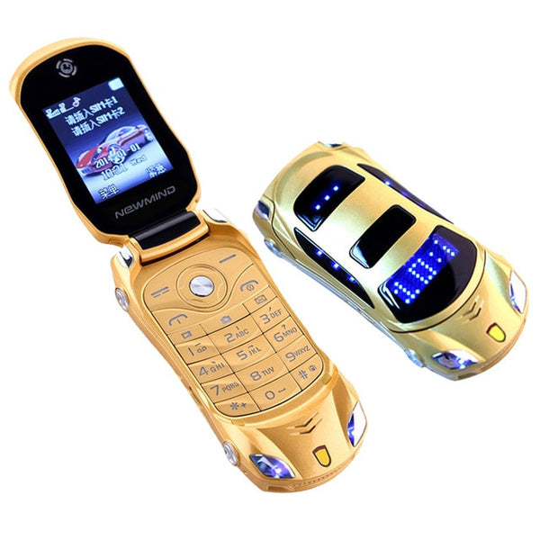 Original Unlocked Flip Phone Dual Sim Mini Sports Car Model Blue Lantern Bluetooth Mobile Cell Phone 2sim Celular-Justt Click