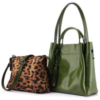 Women handbag high quality cow split leather tote bag large capacity female leopard print shoulder messenger bags-Justt Click