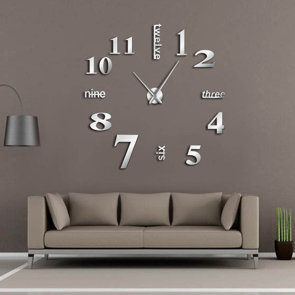 Modern DIY Mute Large Wall Clock Home Decor Office 3D Mirror Surface Wall Sticker Clocks Giant Frameless Decorative Clock Watch-Justt Click