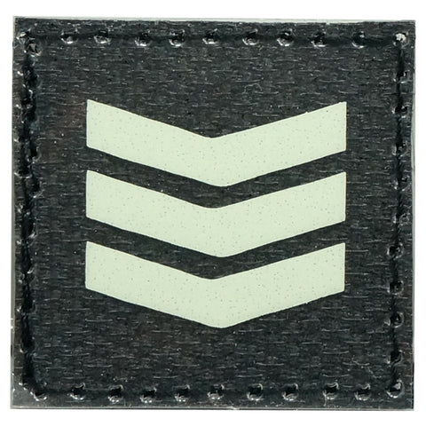 GLOW IN THE DARK RANK PATCH - 3RD SERGEANT