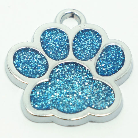 GLITTER PAW PRINT ZINC ALLOY PET TAG - 2019 VERSION