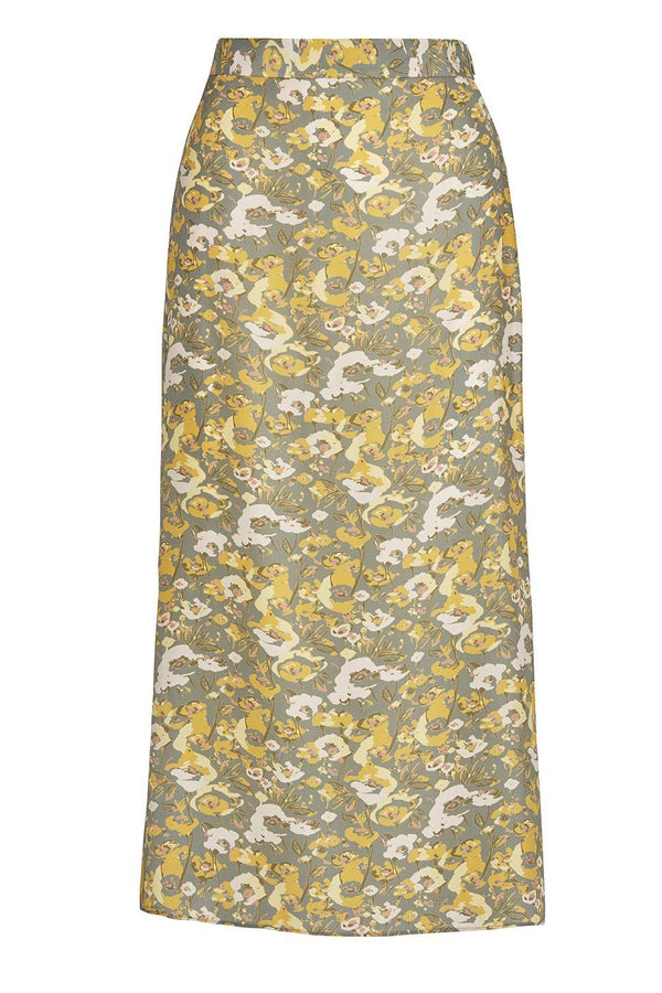 A ladies flared midi slip skirt in slate floral on a white background.