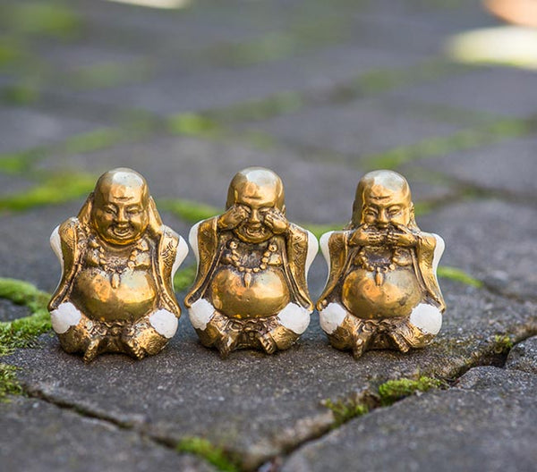 Happy Buddha Hear No Evil Trio Set  - White