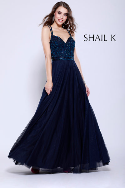Double Strap Embellished Bodice Flowy Navy Prom Dress 12125