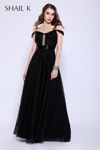 Off The Shoulder Sheer Illusion Fit To Flare Black Prom Dress 12128