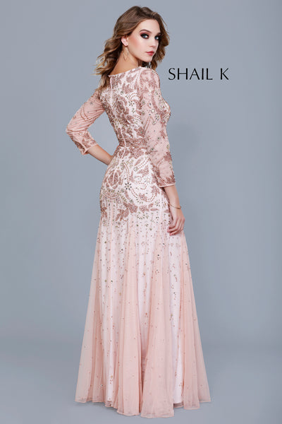 V-Neck Long Sleeve Belted A-Line Style Mother of The Bride Dress 12162