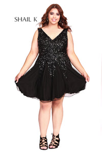 Low Neck Plus Size Fit To Flare Embellished Homecoming Dress 12182W