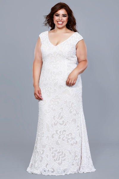 V-Neck Cap Sleeve Embellished A-Line Rose Gold Plus Size Bridesmaid Mother of the Bride Dress 1283W