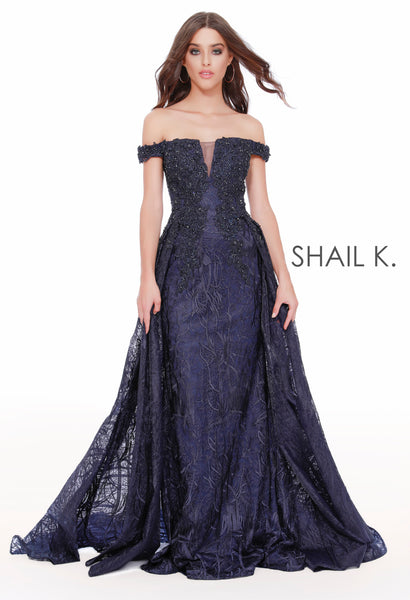 Off The Shoulder Couture Style Navy Dress With Overskirt 43816