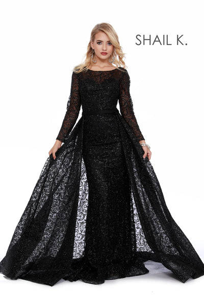 Long Sleeve Full Glitter Couture Silver Dress With Overskirt 46026