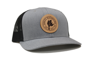 Leather Patch Logo Trucker-Gray and Black-hat-Limits Waterfowl Co.-Limits Waterfowl Co.