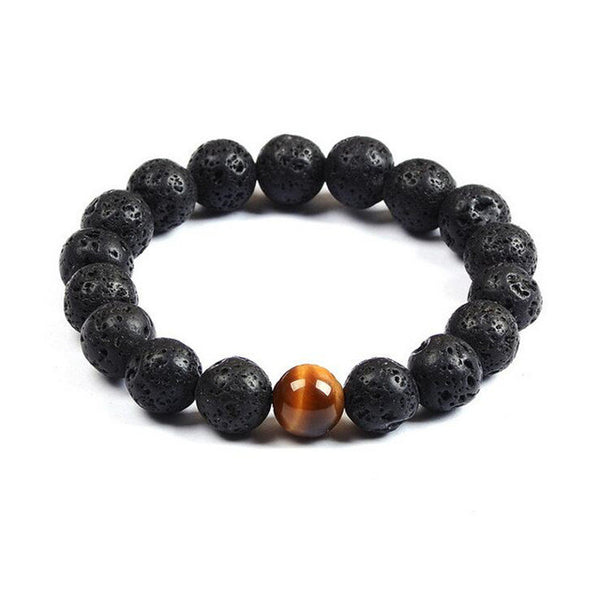 Black Volcanic Lava Stone and Tiger Eye Bead  - Turt Vibe