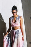 PARI ombre pink sequin crop top with deep v neck - front view | HARLEEN KAUR