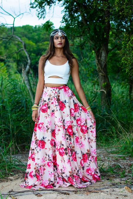ANISHA Cotton Floral Skirt