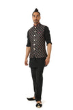 Harleen Kaur Mens Arjun Black Vest with Floral Embroidery and Gold Buttons - Side View
