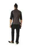 Harleen Kaur Mens Black Arjun Vest with Microfloral Embroidery and Piped Mandarin Collar - Back View