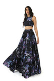 ANISHA Black Cotton Lehenga Skirt with Purple Floral Print - Black Floral Multi Side View | HARLEEN KAUR