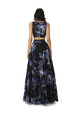 ANISHA Black Cotton Lehenga Skirt with Purple Floral Print - Black Floral Multi Back View | HARLEEN KAUR