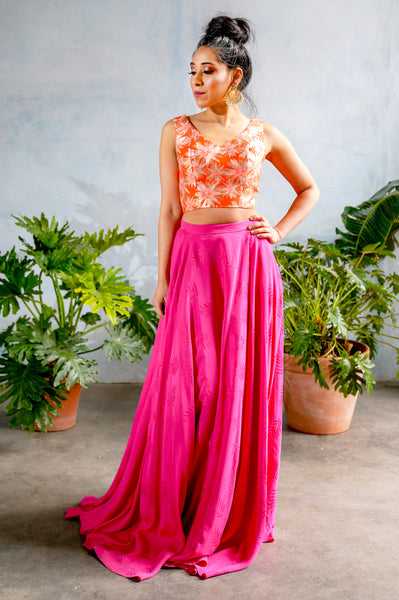 ANISHA Palm Cupro Skirt with Leaflet Design in Pink - Front View - Harleen Kaur