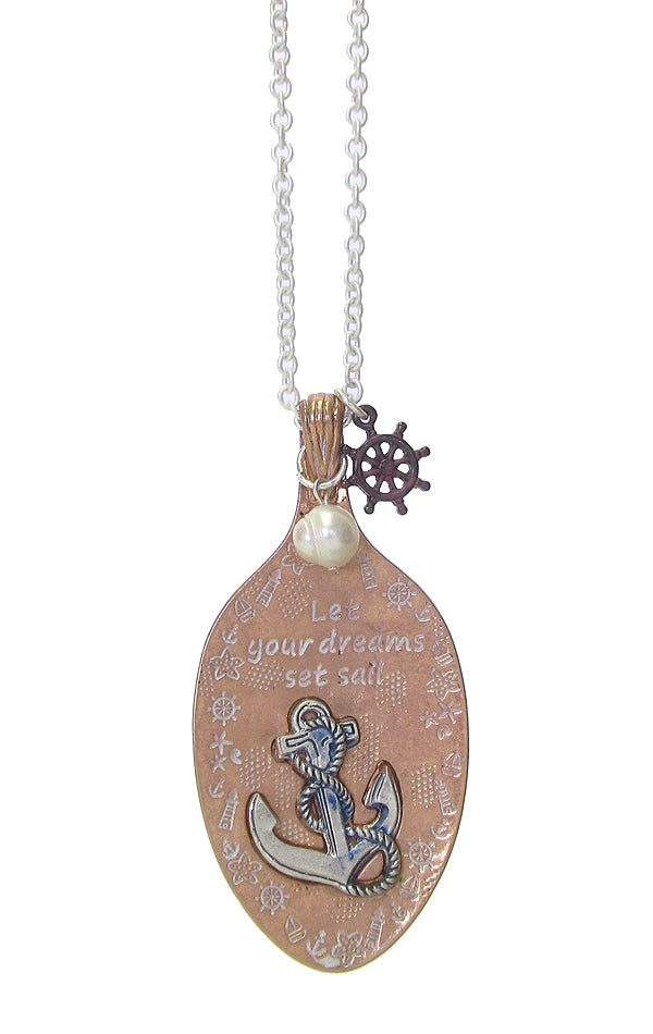 Sealife Inspiration Anchor Spoon Necklace