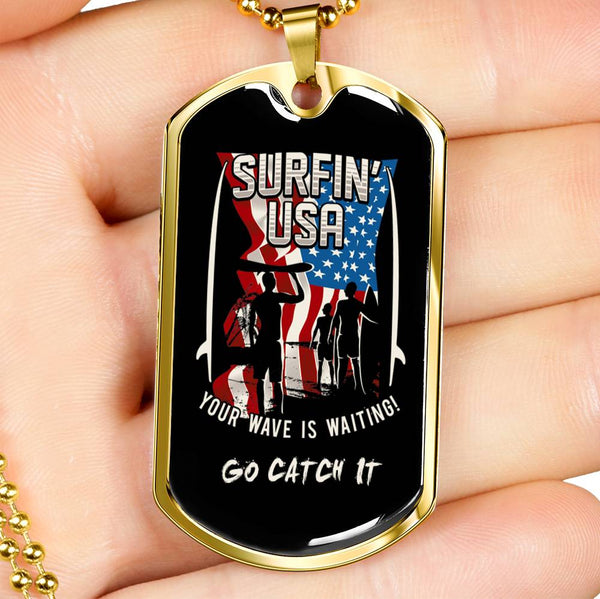 Nautical Necklace Surfing USA Stainless Steel Or 18k Gold Plating