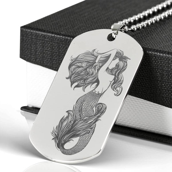 Mermaid Engraved On Front Of Stainless Steel Dog Tag