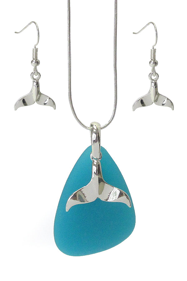 Sealife Theme Sea Glass Whale Tail Necklace Set