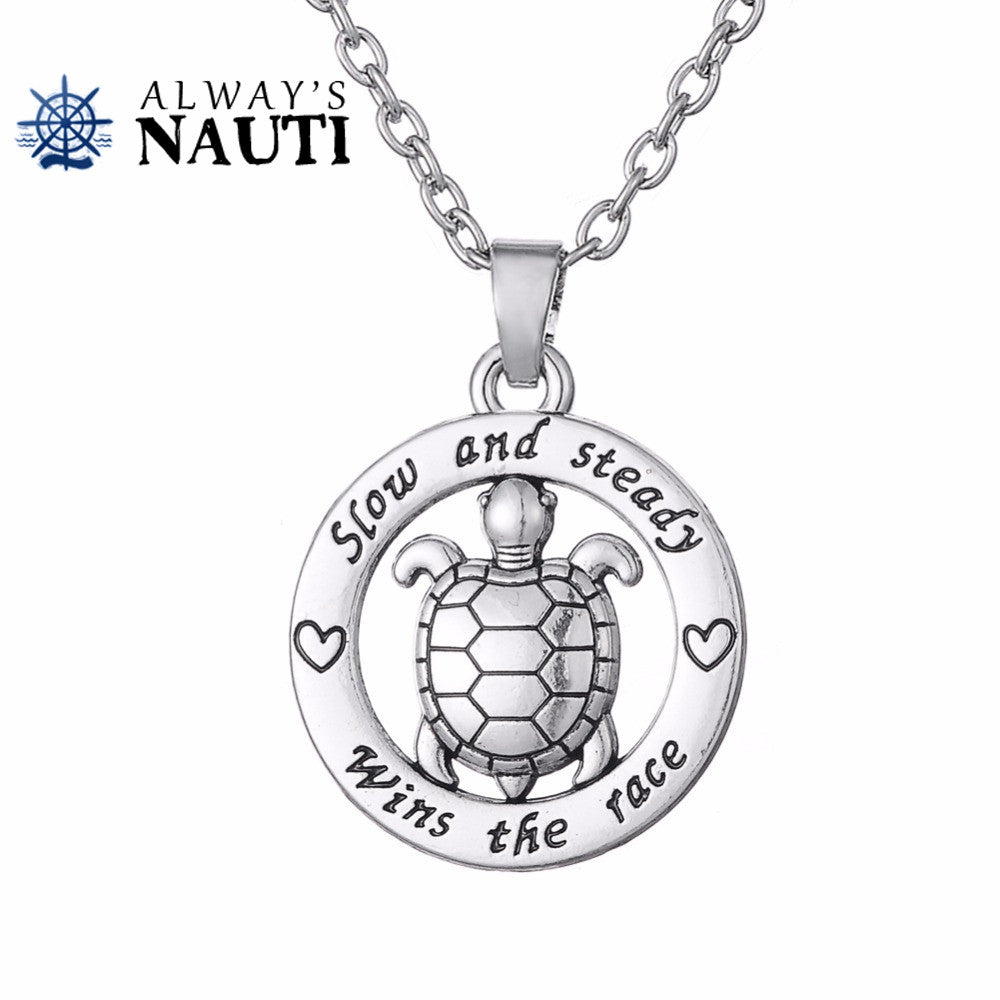Nautical Jewelry Of The Sea Featuring A Silver Plated Turtle Pendant And Chain