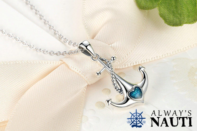 "Anchor Pendant For Ladies - Beautiful Sterling Silver & Zircon Heart Attached With An 18"" Necklace"