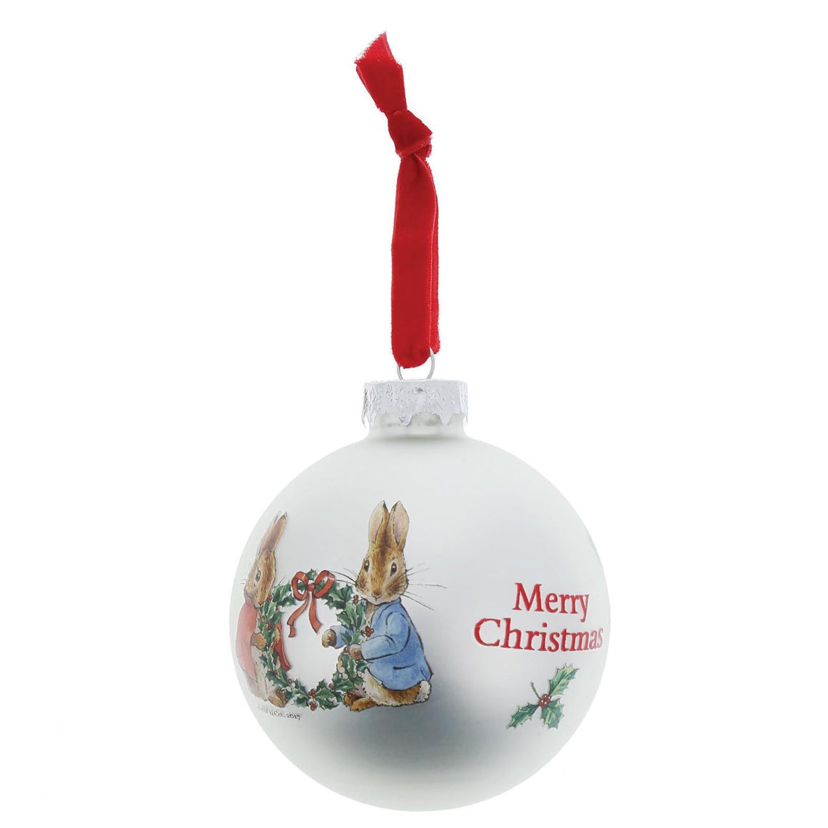 Beatrix Potter Peter Rabbit and Flopsy Holding Holy Wreath Bauble