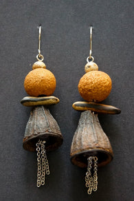 Australian natural gum nut earrings with sandalwood and poinciana seed