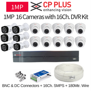 CP Plus 1MP 16 CCTV Camera with 16Ch. DVR Kit with All Accessories