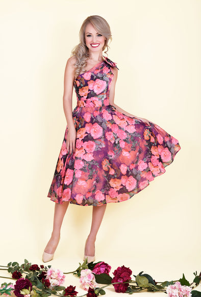 Ava Dress - Romantic Pink Rose Print & One Shoulder Sided Bow 1950's Vintage Style Dress