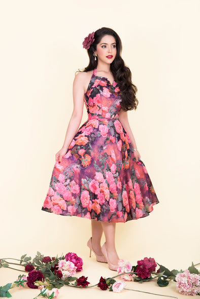 Liz Dress - Romantic Pink Rose Print 1950's Vintage Inspired Halterneck Midi Dress