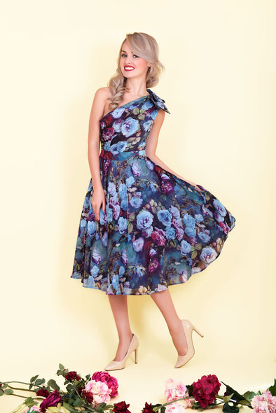 Ava Dress - Mysterious Blue Garden Rose Print & One Shoulder Sided Bow 1950's Vintage Inspired Midi Dress