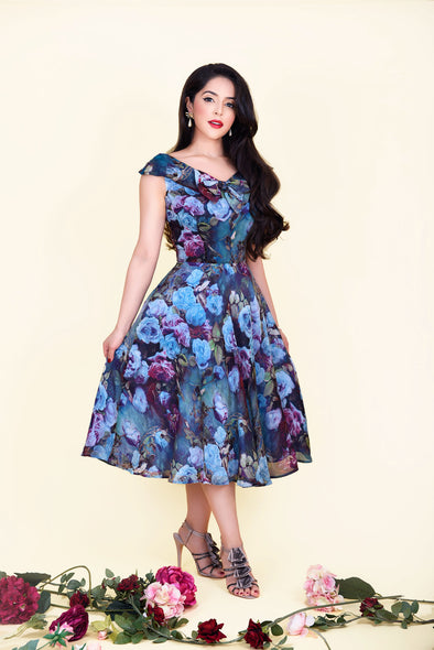 Sabrina Dress - Mysterious Blue Garden Rose Print & Bow Detail 1950's Vintage Inspired Midi Tea Dress