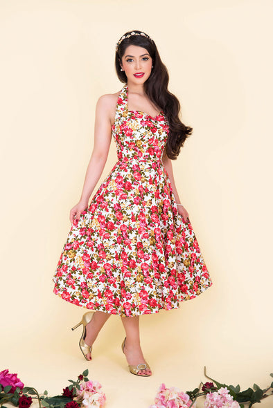 "Marilyn Dress - Dainty Red Rose ""Forget me not!"" Print 1950's Vintage Inspired Halterneck Midi Dress"