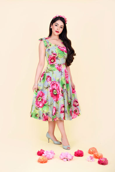 Audrey Dress - Vibrant Pink & Green Floral Print 1950's Vintage Style Midi Flared Dress