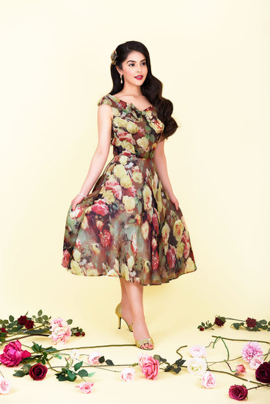 Sabrina Dress - Antique Cameo Rose Print & Bow Detail 1950's Vintage Inspired Midi Tea Dress