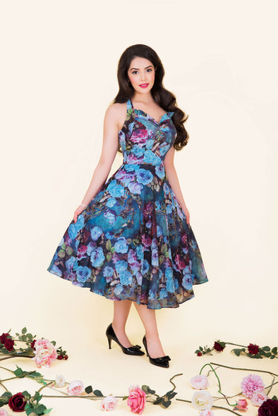 Liz Dress - Mysterious Blue Garden Rose Print 1950's Vintage Inspired Halterneck Midi Dress