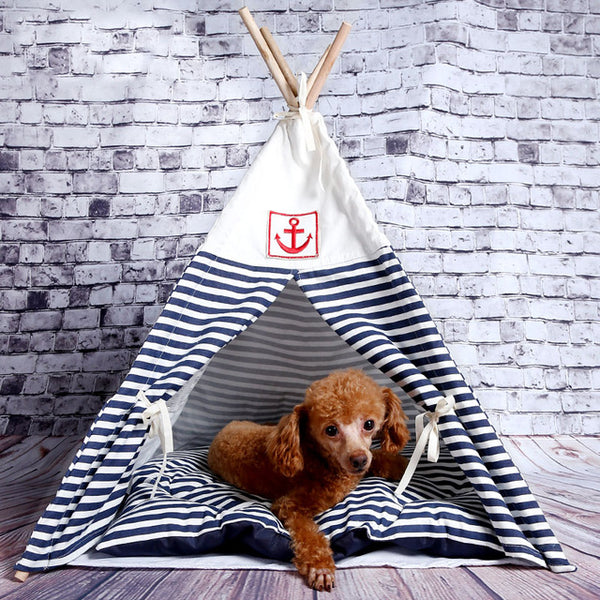Cat washable Navy Striped wood crate Tactic kennel dog house cat pet supplies Teddy tent Crates & Kennels - DogTrunk