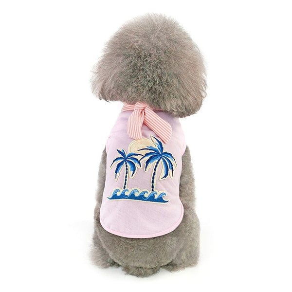 Sun and Palm Tree T-Shirt with Matching Scarf for Dogs  - DogTrunk