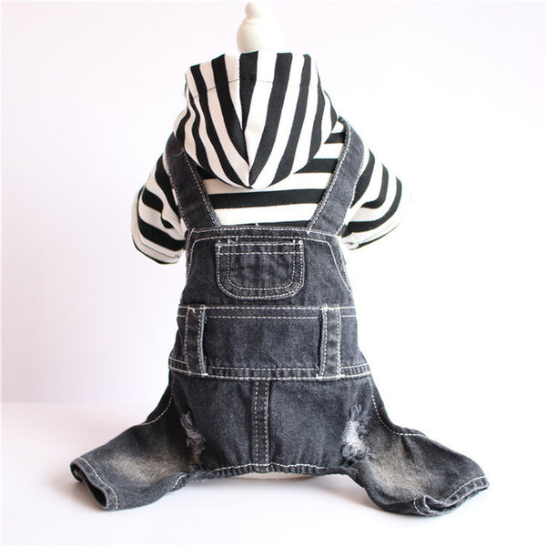 Denim Dog Romper with Attached Striped Hoodie  - DogTrunk