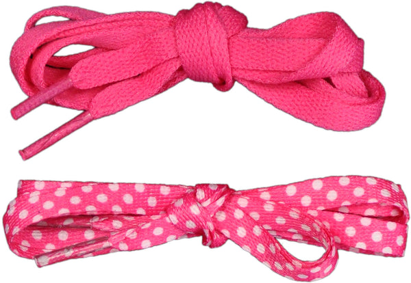 Shoelaces 2 Pair Minidot/Solid - Pink