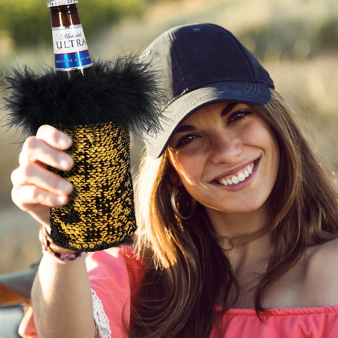 Gold Sequin Beer Koozie by Tipsy Totes