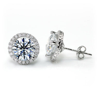 Round Cut Halo Stud Earrings 925 Sterling Silver - diamondiiz.com
