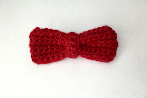 Hand crochet little boys red bowties for mommy & me maternity photo shoots