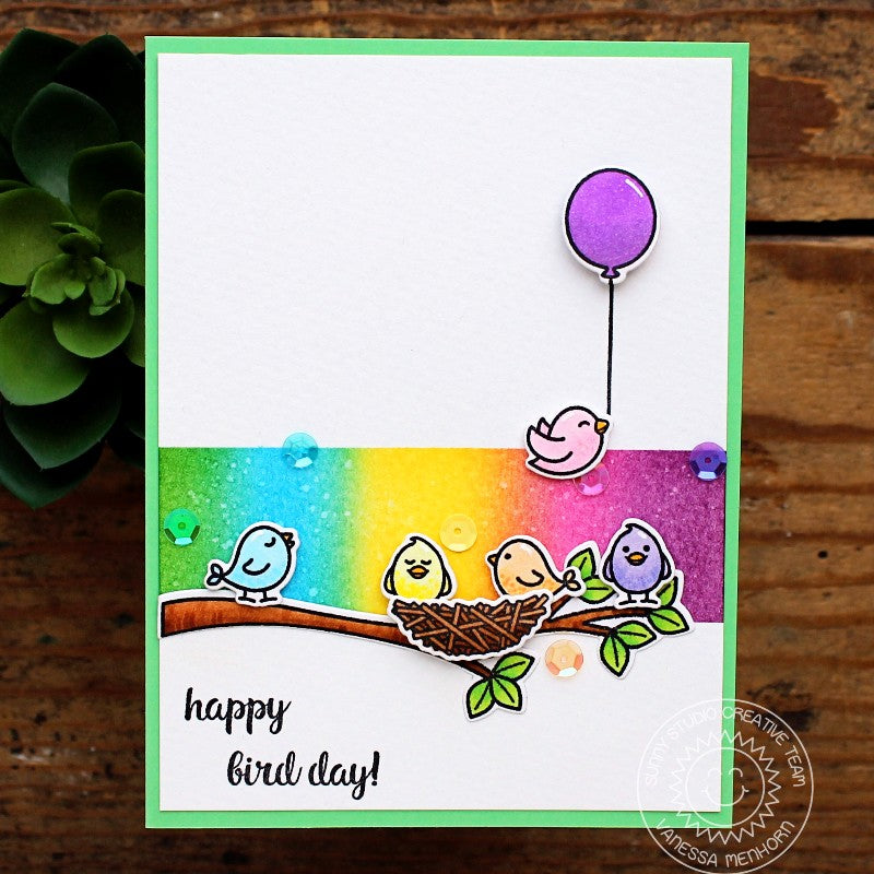 Sunny Studio Stamps A Bird's Life Rainbow Birthday Card by Vanessa