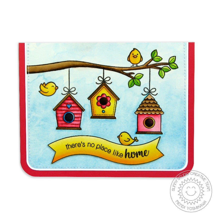 Sunny Studio Stamps A Bird's Life There's No Place Like Home Birdhouse Card