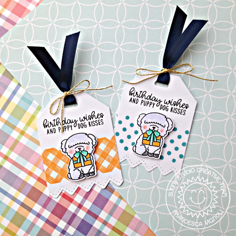 Sunny Studio Stamps Party Pups Dog Birthday Gift Tags by Franci